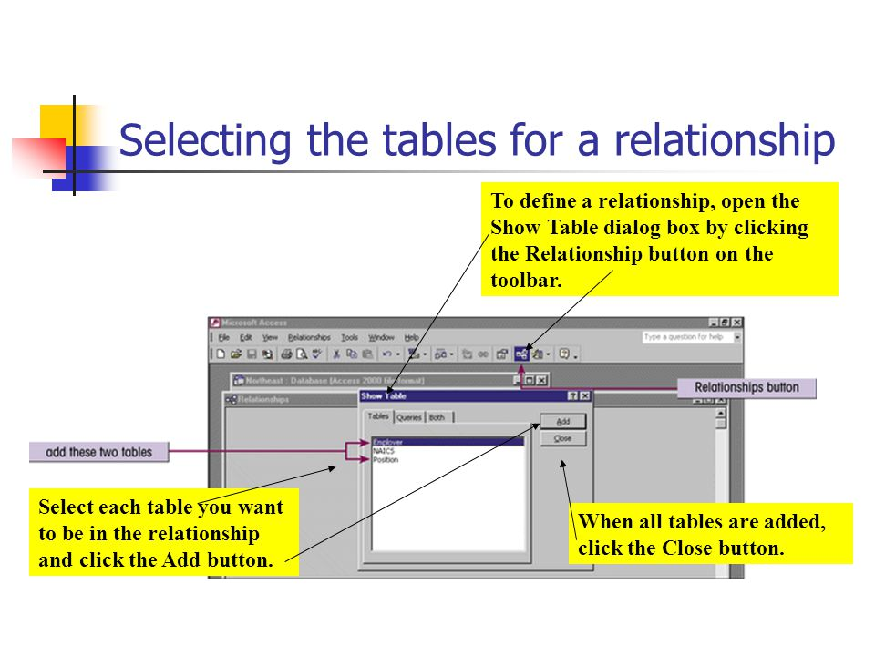 Selecting the tables for a relationship