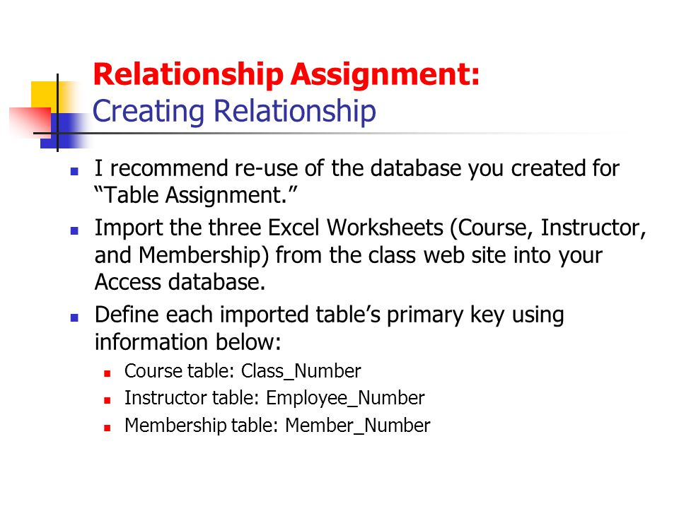 Relationship Assignment: Creating Relationship