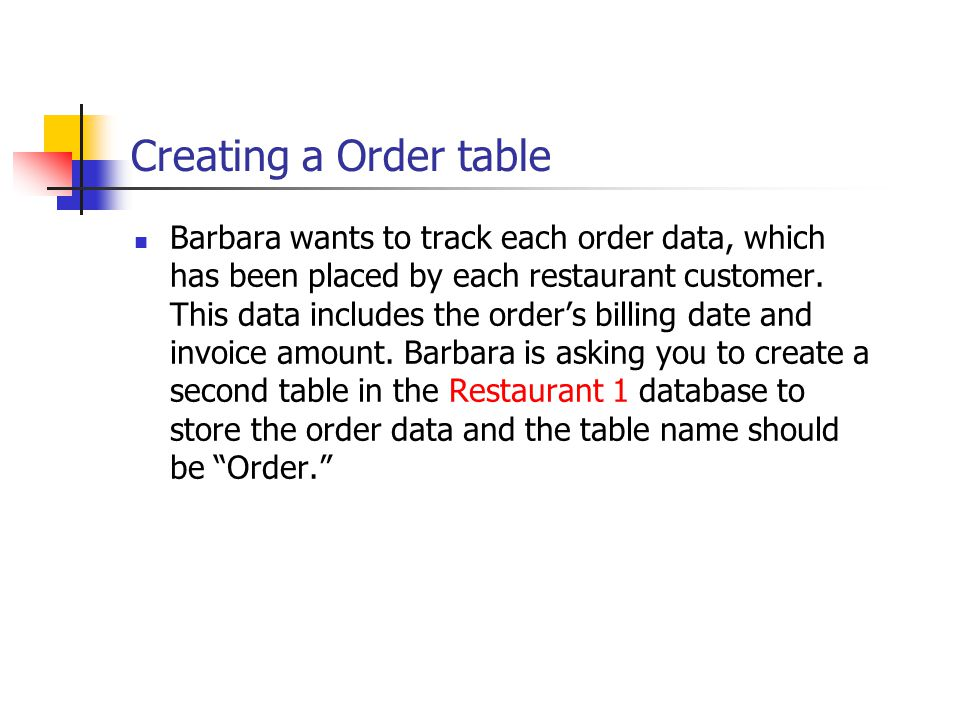 Creating a Order table