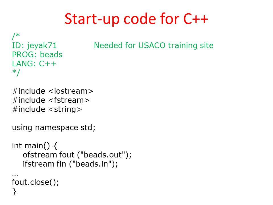 Start-up code for C++