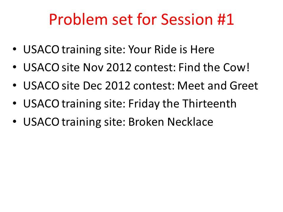 Problem set for Session #1