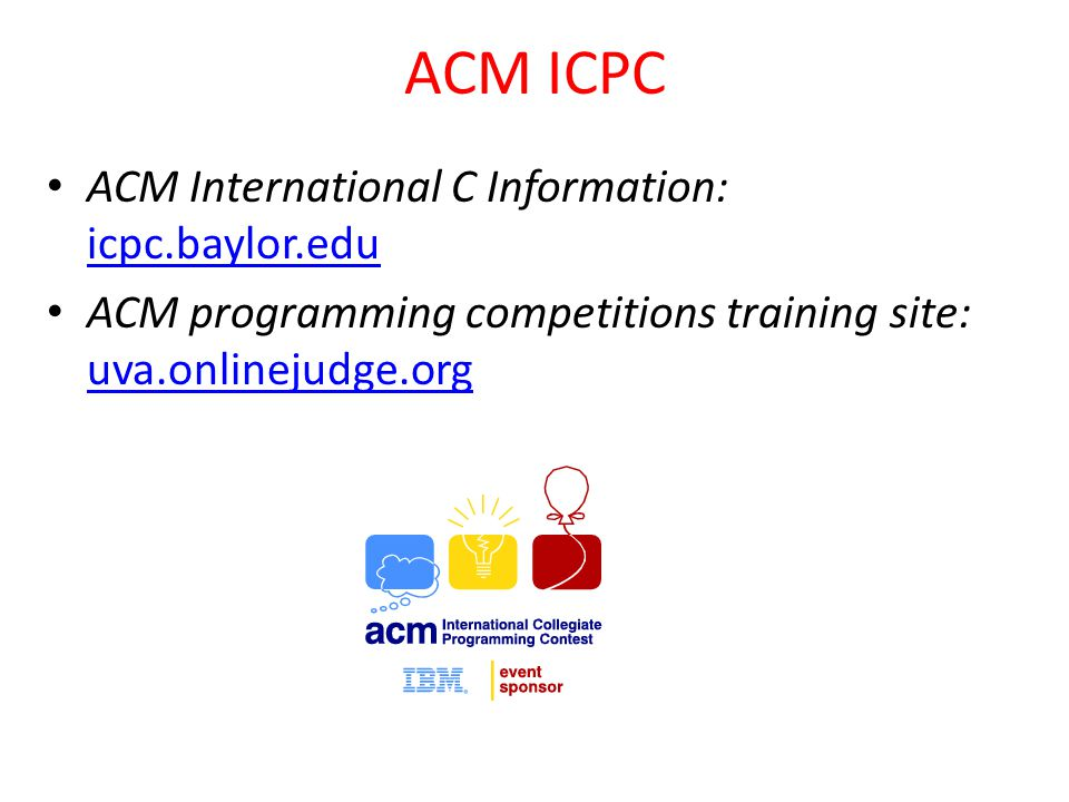 ACM ICPC ACM International C Information: icpc.baylor.edu