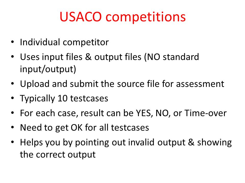 USACO competitions Individual competitor