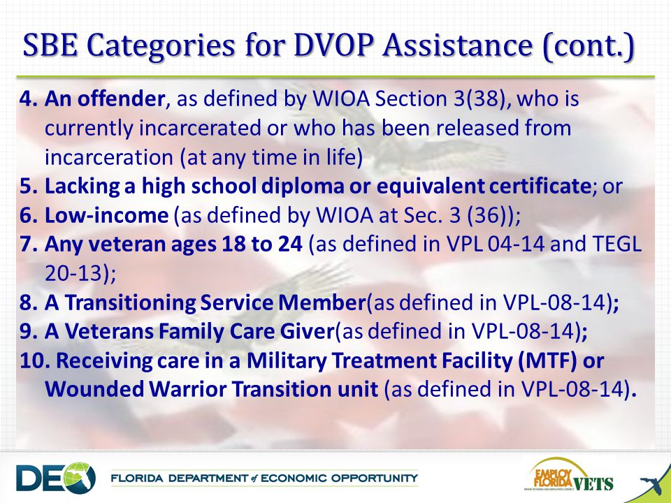 SBE Categories for DVOP Assistance (cont.)