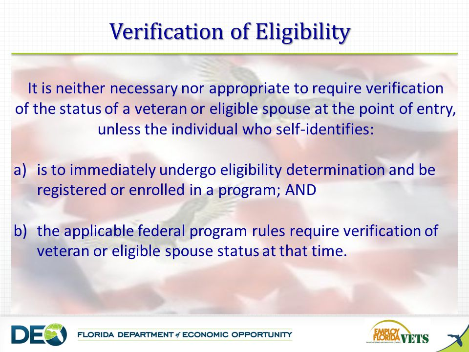 Verification of Eligibility