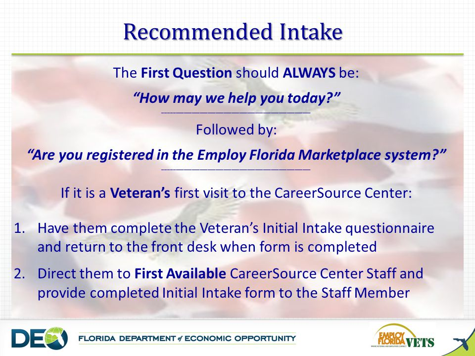 Recommended Intake The First Question should ALWAYS be: