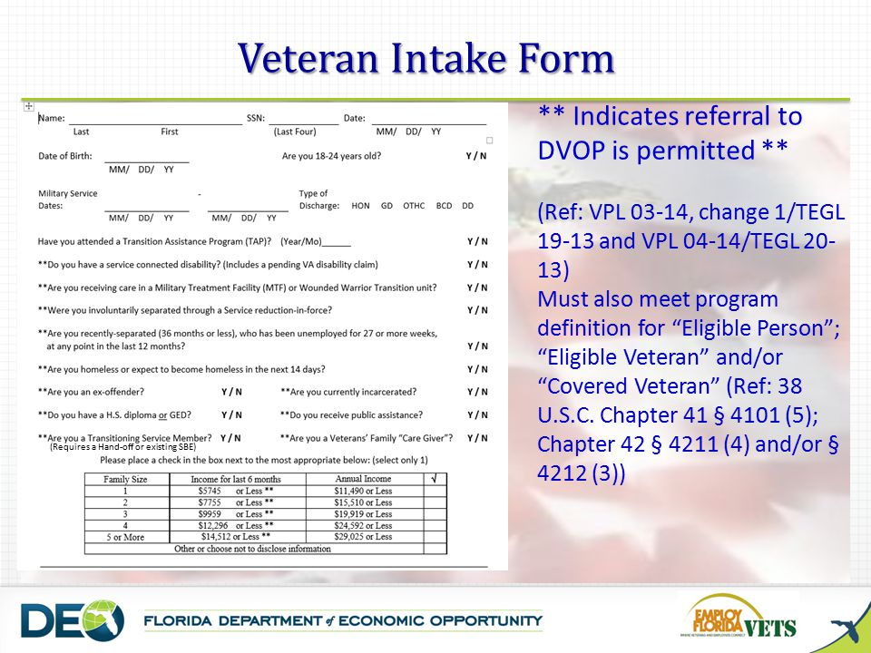 Veteran Intake Form ** Indicates referral to DVOP is permitted **