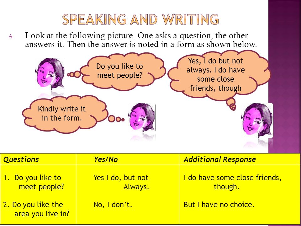 SPEAKING AND WRITING Look at the following picture. One asks a question, the other answers it. Then the answer is noted in a form as shown below.