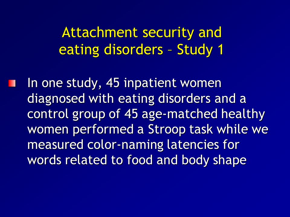 Attachment security and eating disorders – Study 1