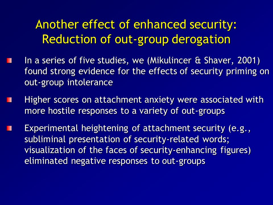 Another effect of enhanced security: Reduction of out-group derogation