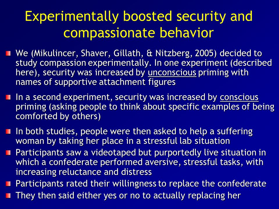 Experimentally boosted security and compassionate behavior