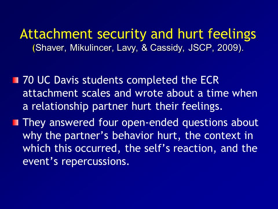 Attachment security and hurt feelings (Shaver, Mikulincer, Lavy, & Cassidy, JSCP, 2009).