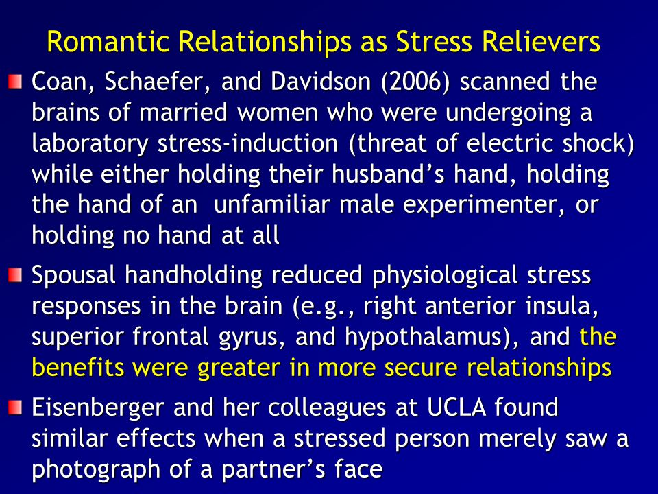 Romantic Relationships as Stress Relievers