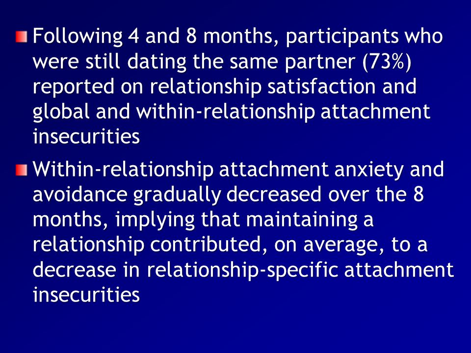 Following 4 and 8 months, participants who were still dating the same partner (73%) reported on relationship satisfaction and global and within-relationship attachment insecurities
