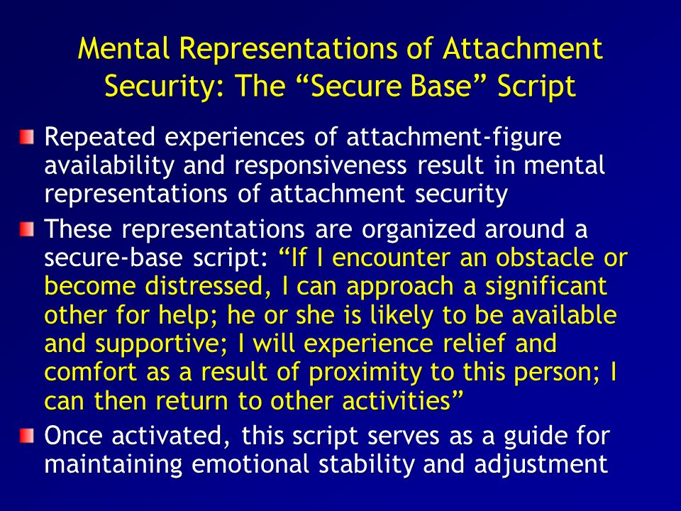 Mental Representations of Attachment Security: The Secure Base Script
