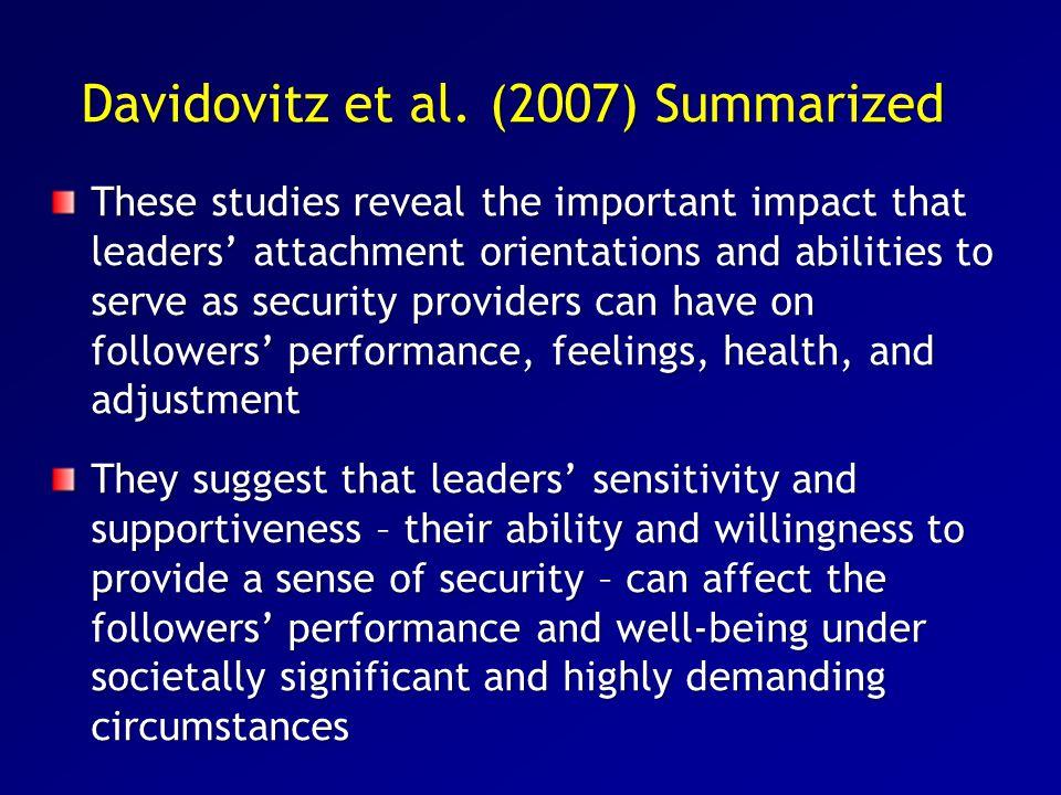 Davidovitz et al. (2007) Summarized
