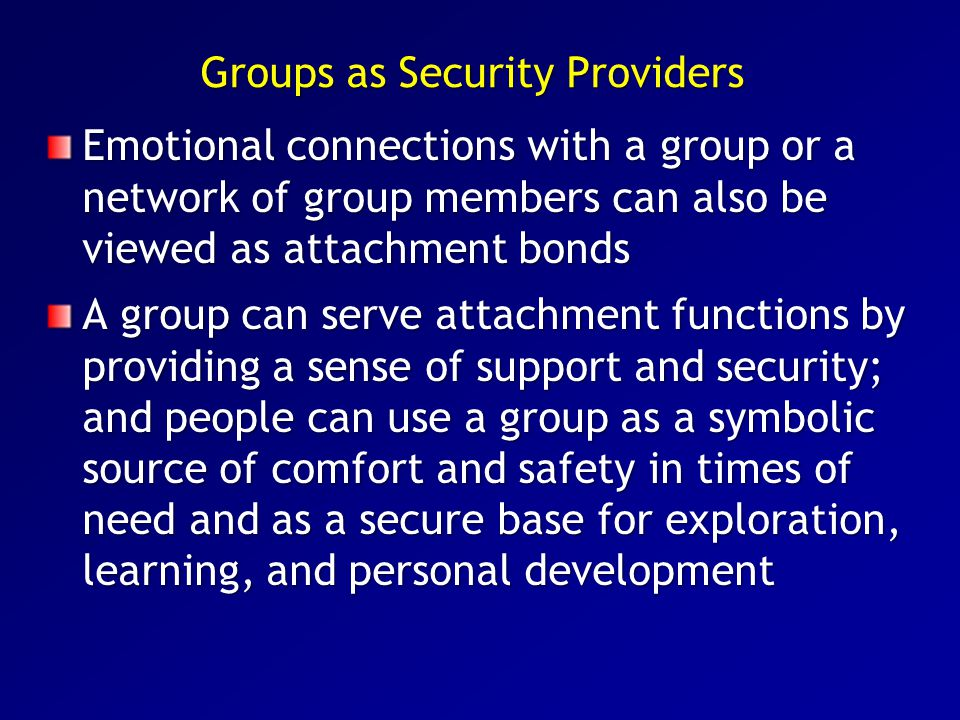 Groups as Security Providers