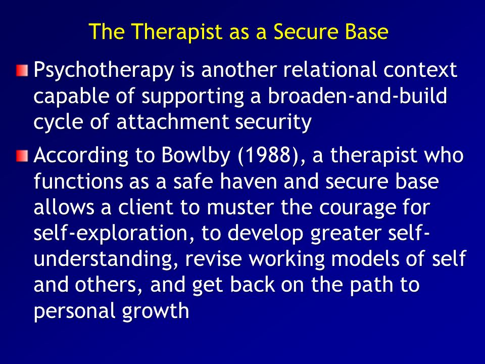 The Therapist as a Secure Base
