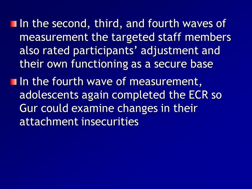 In the second, third, and fourth waves of measurement the targeted staff members also rated participants' adjustment and their own functioning as a secure base
