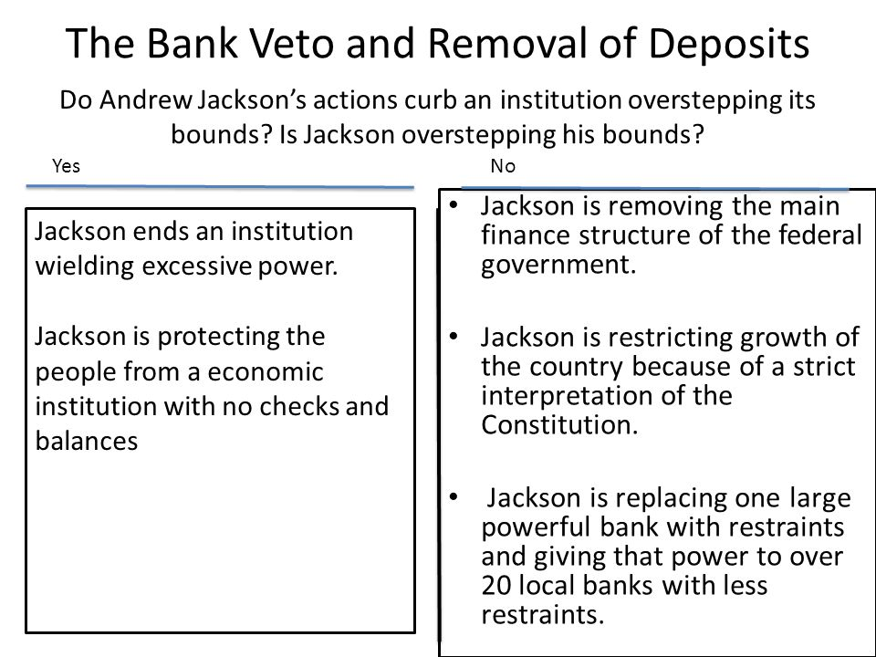 The Bank Veto and Removal of Deposits