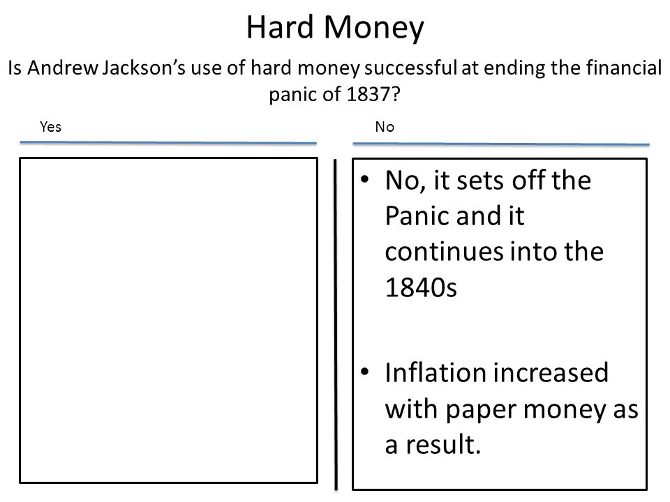 Hard Money No, it sets off the Panic and it continues into the 1840s