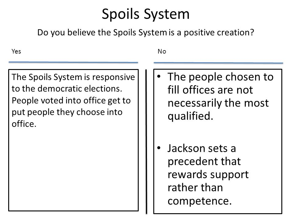 Do you believe the Spoils System is a positive creation