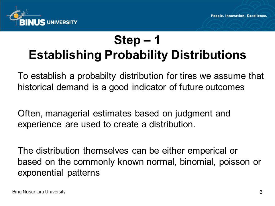 Step – 1 Establishing Probability Distributions