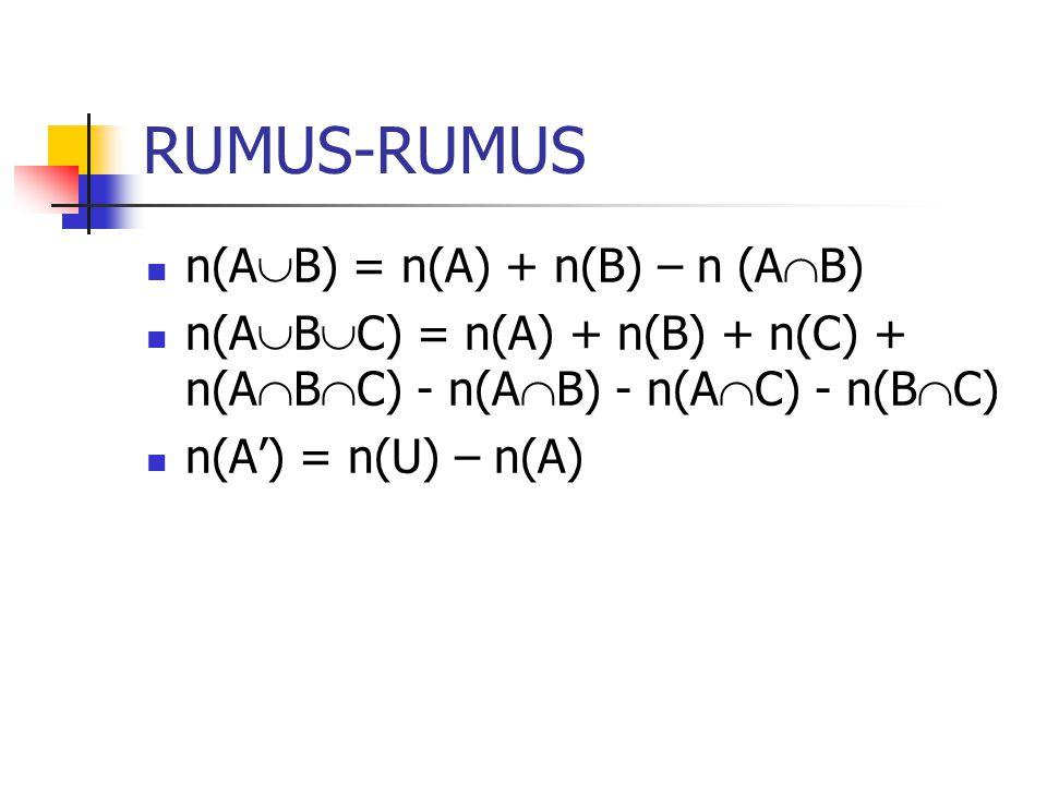 RUMUS-RUMUS n(AB) = n(A) + n(B) – n (AB)