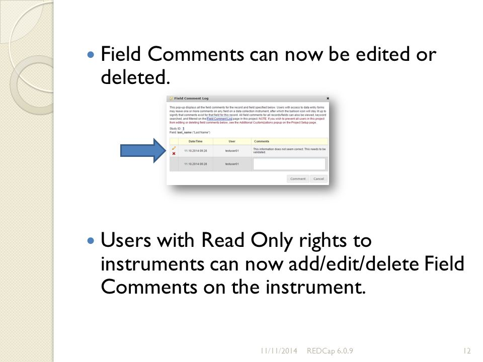 Field Comments can now be edited or deleted.