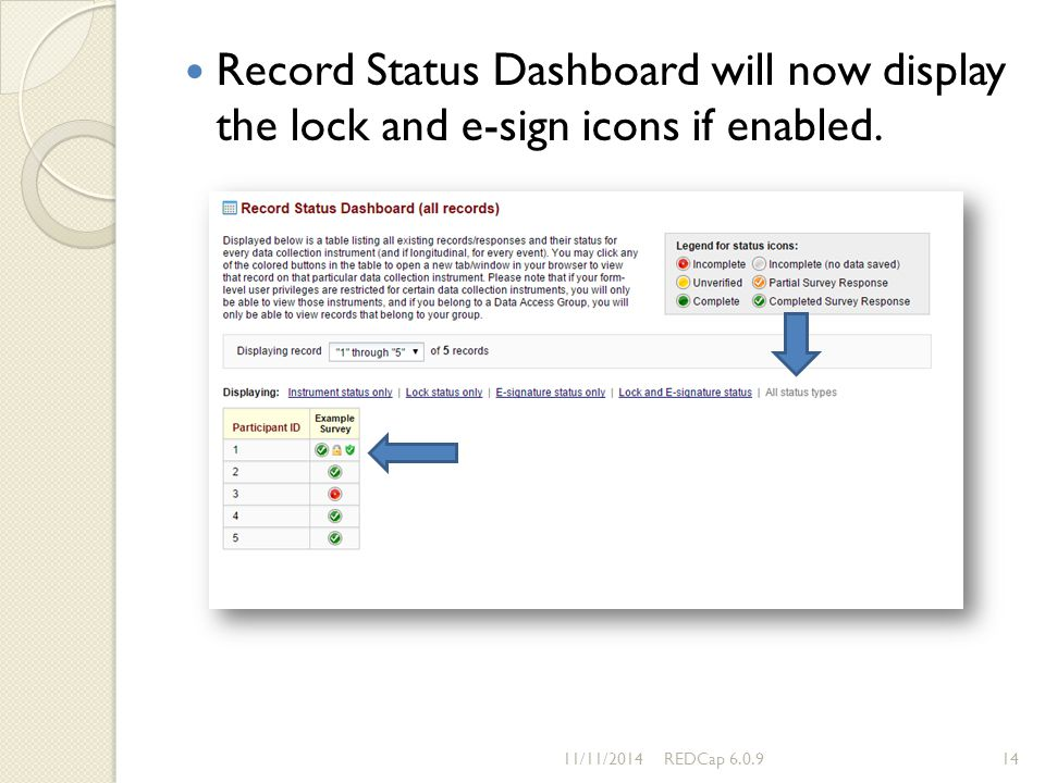 Record Status Dashboard will now display the lock and e-sign icons if enabled.