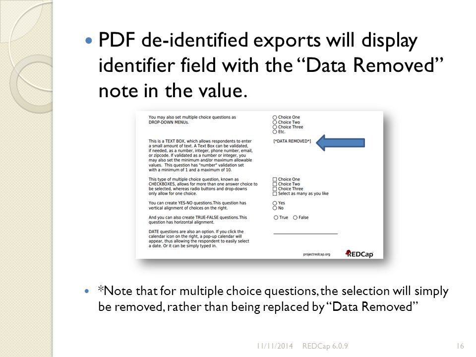 PDF de-identified exports will display identifier field with the Data Removed note in the value.