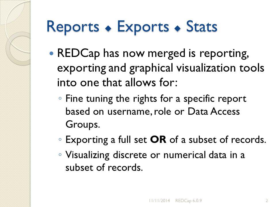 Reports  Exports  Stats