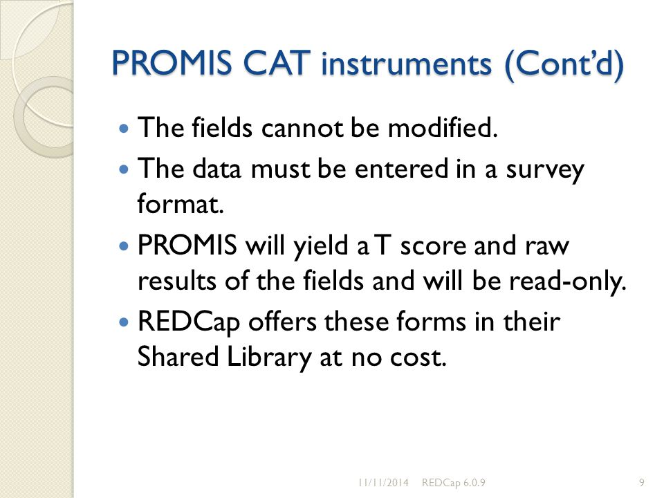 PROMIS CAT instruments (Cont'd)