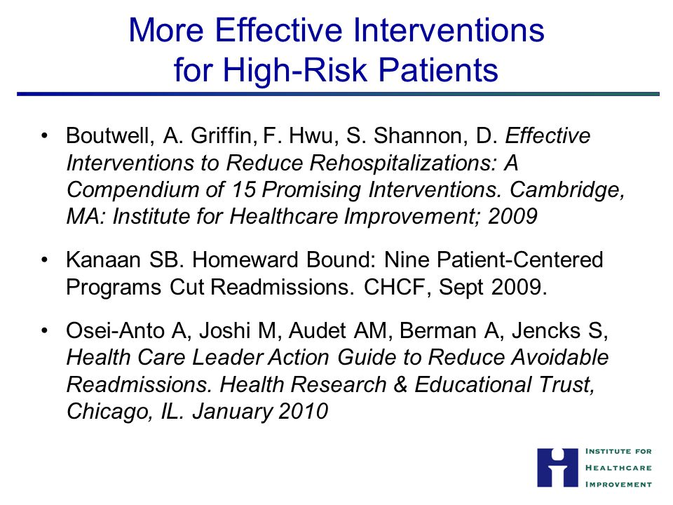 More Effective Interventions for High-Risk Patients