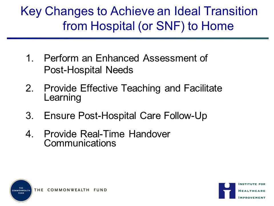 Key Changes to Achieve an Ideal Transition from Hospital (or SNF) to Home