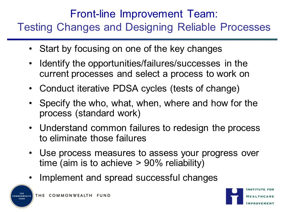 Front-line Improvement Team: Testing Changes and Designing Reliable Processes