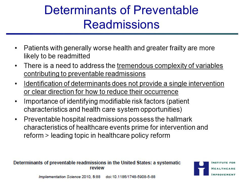 Determinants of Preventable Readmissions