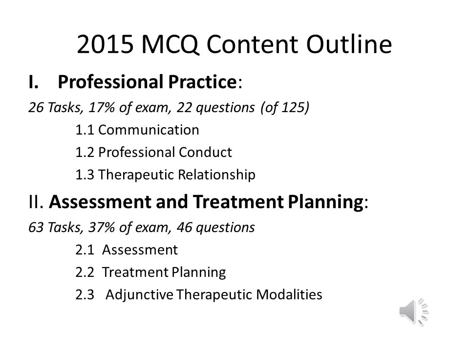 2015 MCQ Content Outline Professional Practice: