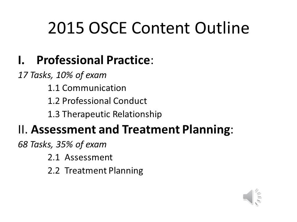 2015 OSCE Content Outline Professional Practice: