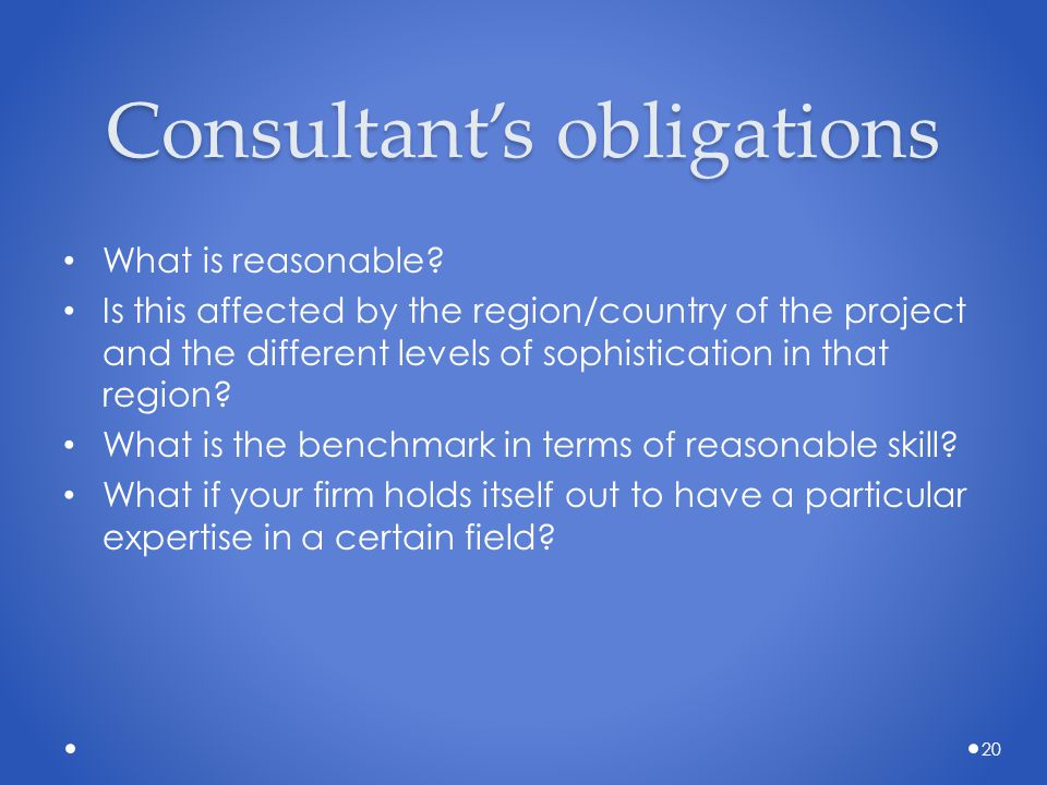 Consultant's obligations