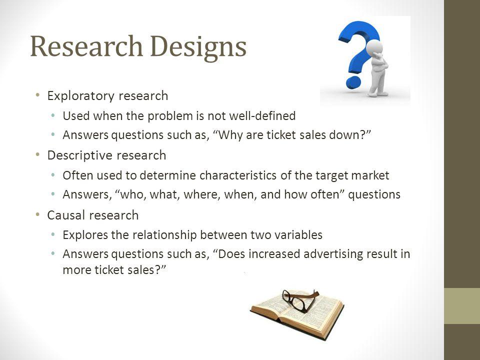 Research Designs Exploratory research Descriptive research