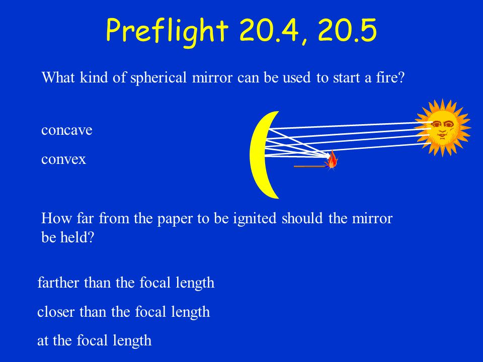 Preflight 20.4, 20.5 What kind of spherical mirror can be used to start a fire concave. convex.