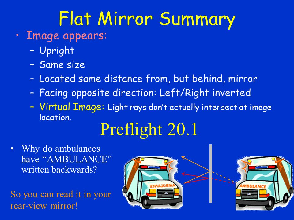 Flat Mirror Summary Preflight 20.1 Image appears: Upright Same size