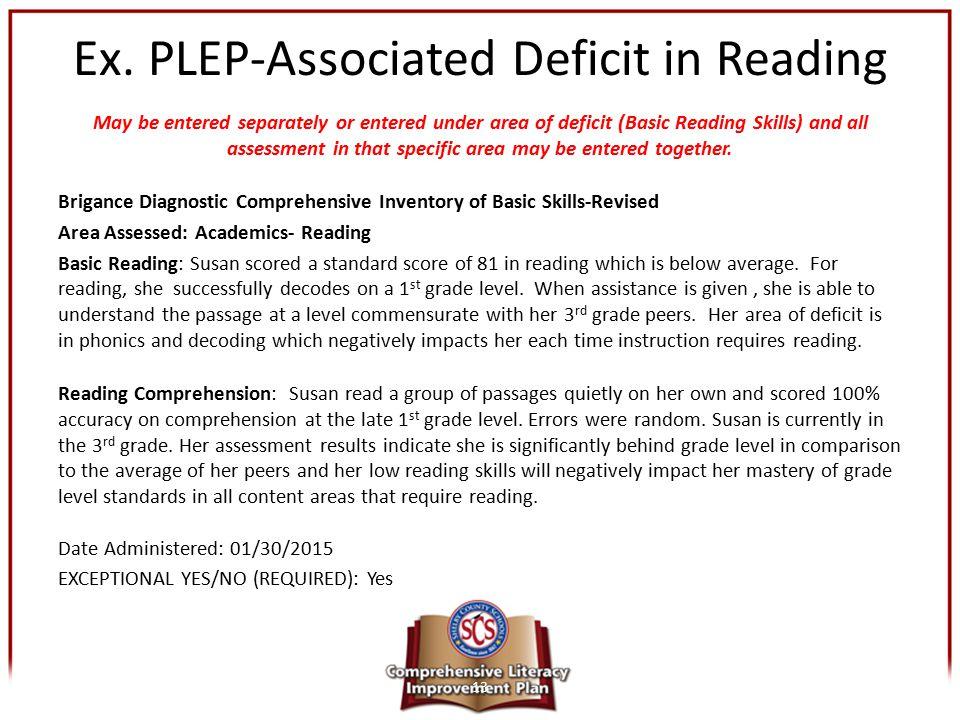 Ex. PLEP-Associated Deficit in Reading