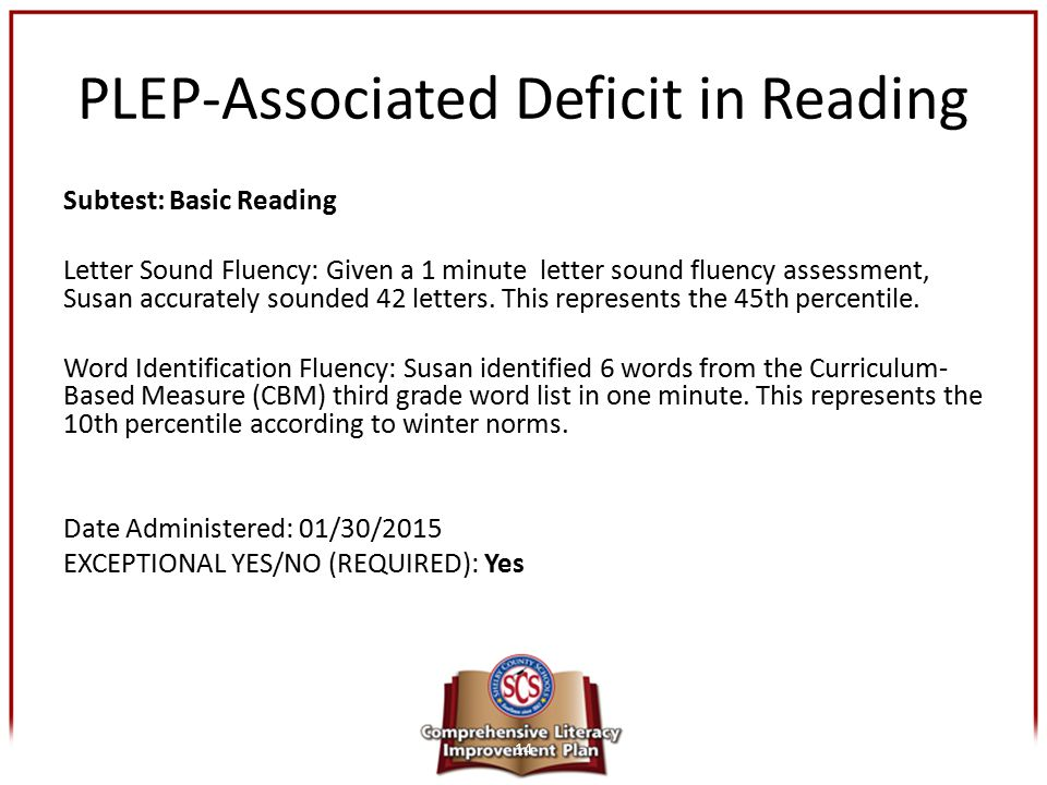 PLEP-Associated Deficit in Reading