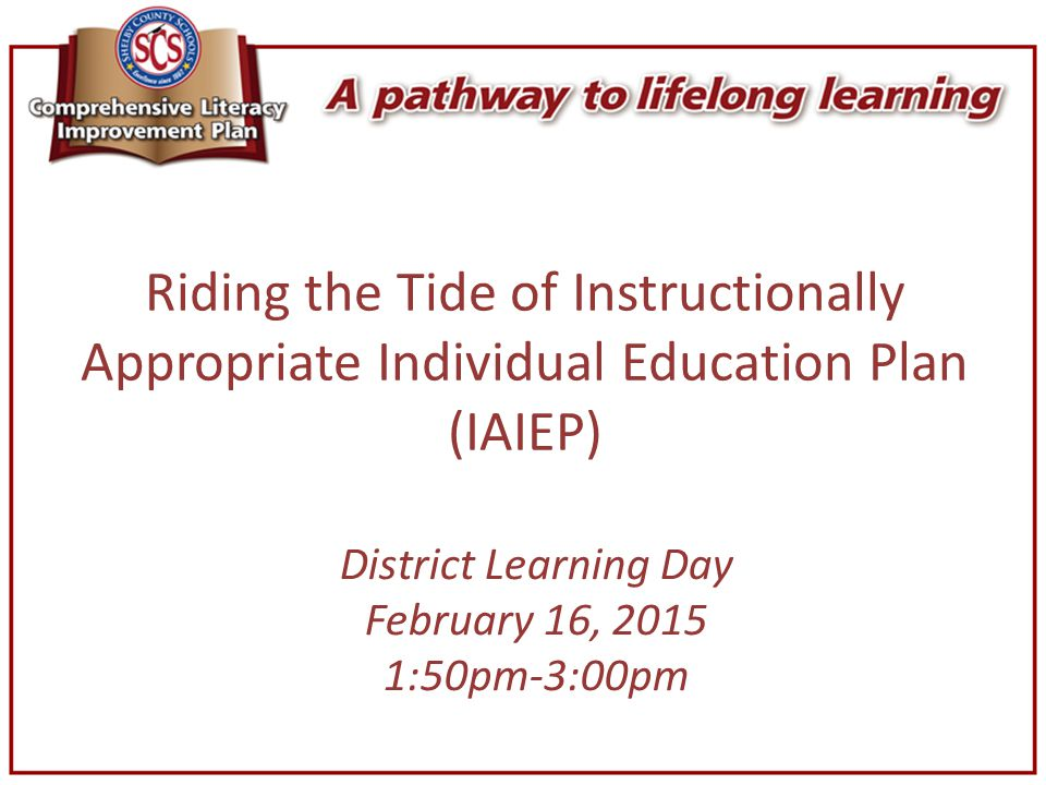 District Learning Day February 16, 2015 1:50pm-3:00pm