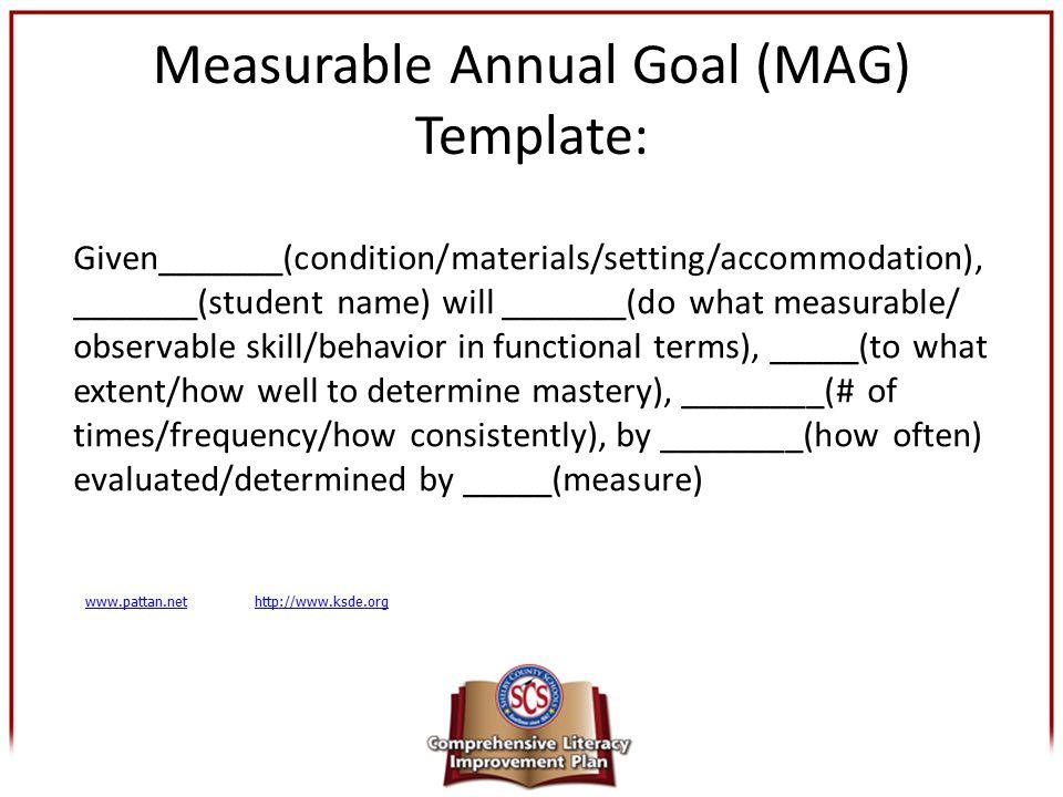 Measurable Annual Goal (MAG) Template: