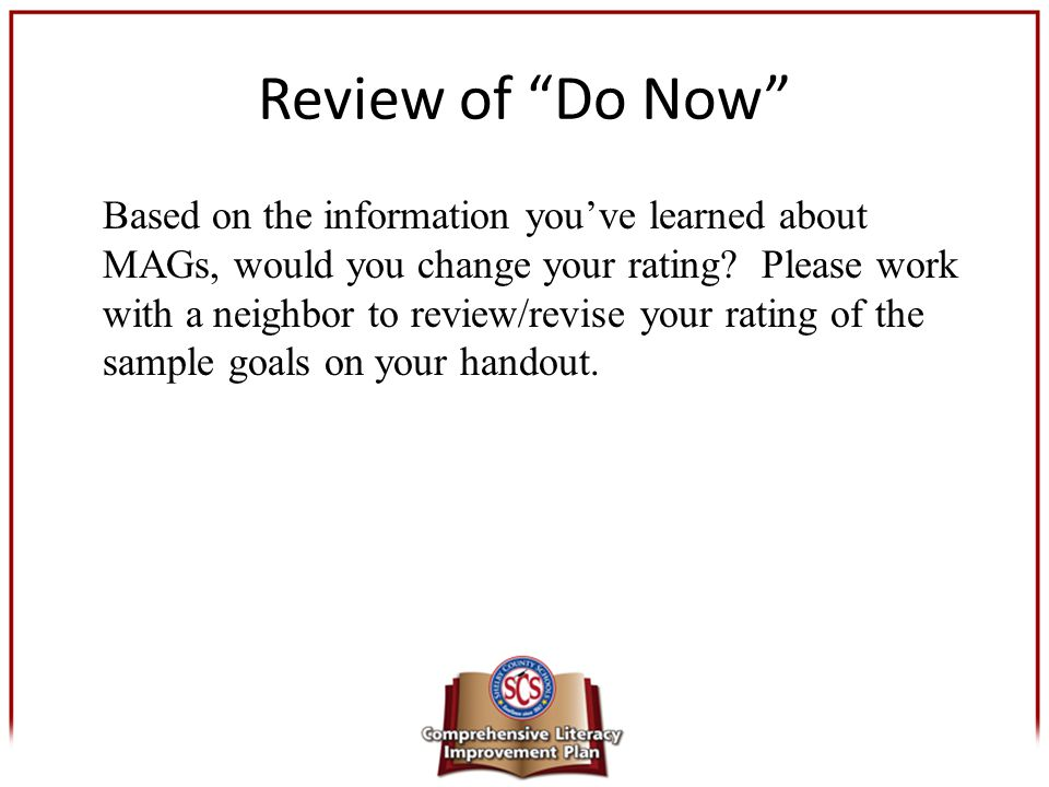 Review of Do Now