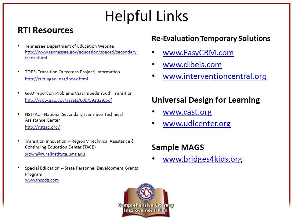 Helpful Links RTI Resources www.EasyCBM.com www.dibels.com