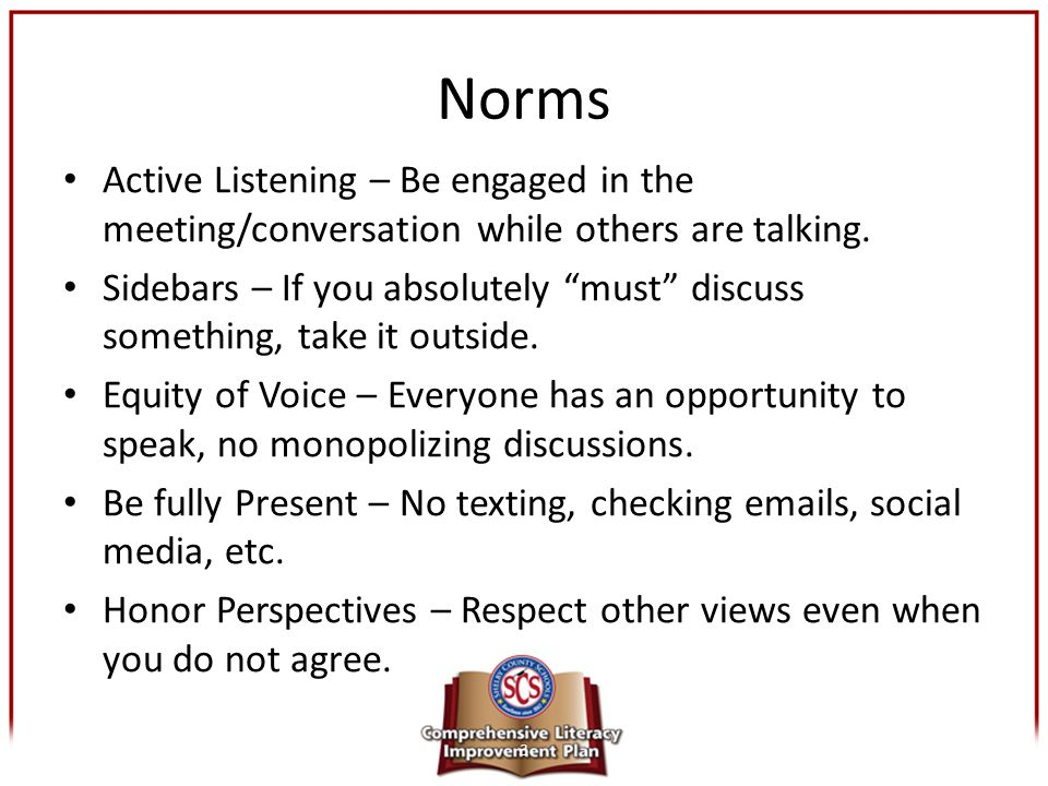 Norms Active Listening – Be engaged in the meeting/conversation while others are talking.